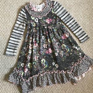 Girl's Bonnie Jean Mixed Media Sweater Dress